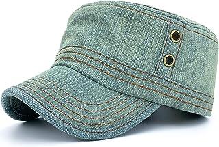 قبعة جينز عسكرية كلاسيكية للرجال والنساء من قماش الدنيم المغسول قبعة جينز عسكرية منخفضة المستوى قبعة بيسبول مسطحة