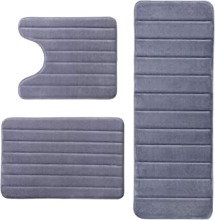 KMAT Bathroom Rugs Bath Mats for Bathroom Luxury Soft Anti-Slip Memory Foam 3 PCS Mats Set(U-Shaped 20
