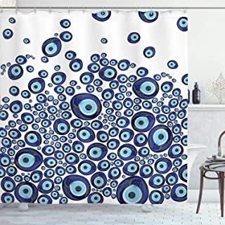 Ambesonne Evil Eye Shower Curtain, Luck Glass Look Beads Graphic on Plain Background, Cloth Fabric Bathroom Decor Set with Hooks, 70
