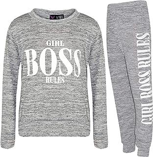 Kids Girls Lounge Suit Girl Boss Rule Tracksuit Loungewear Top Bottom Outfit Set