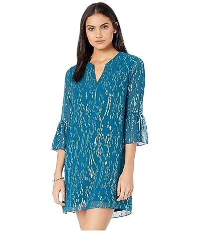 Lilly Pulitzer Elenora Silk Dress (Inky Tidal Fish Clip Chiffon) Women