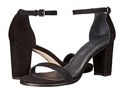Stuart Weitzman Nearlynude Ankle Strap City Sandal (Black Suede) Women