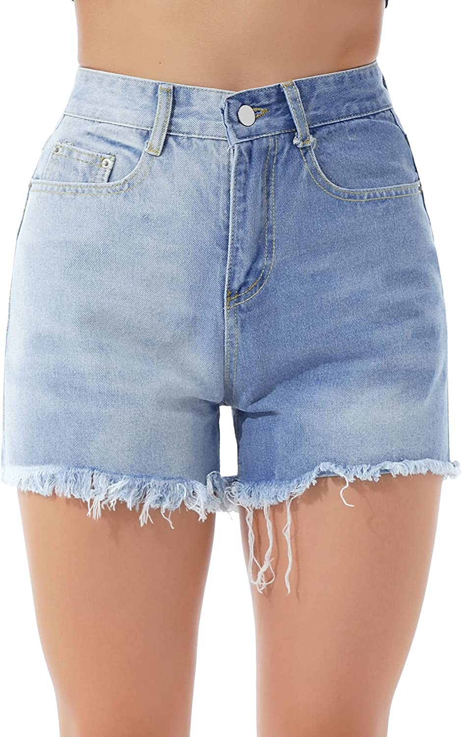 ranrann Womens Patchwork Denim Shorts High Waist Contrast Color Washed Distressed Sexy Short Jeans
