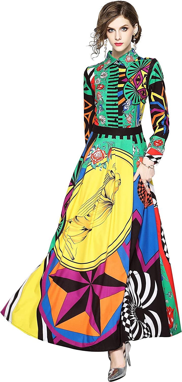 LAI MENG FIVE CATS Women's Floral Print Maxi Dress Casual Button Up Long Dress
