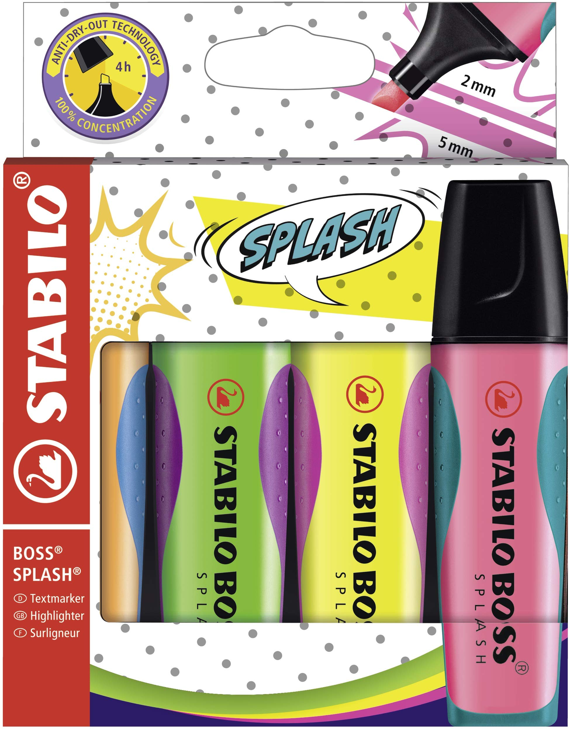 Stabilo Boss Splash - Rotuladores fluorescentes (5 paquetes de 4 unidades), color amarillo, naranja, verde y rosa: Amazon.es: Oficina y papelería