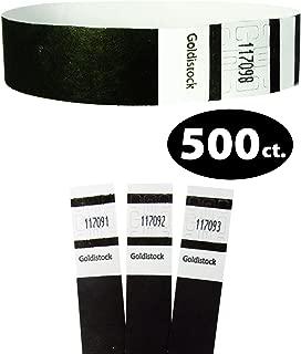 "Tyvek Wristbands - Goldistock Original Series Tuxedo Black 500 Count - ¾"" Arm Bands - Paper-Like Party Armbands - Heavier Tyvek Wrist Bands = Superior Events"