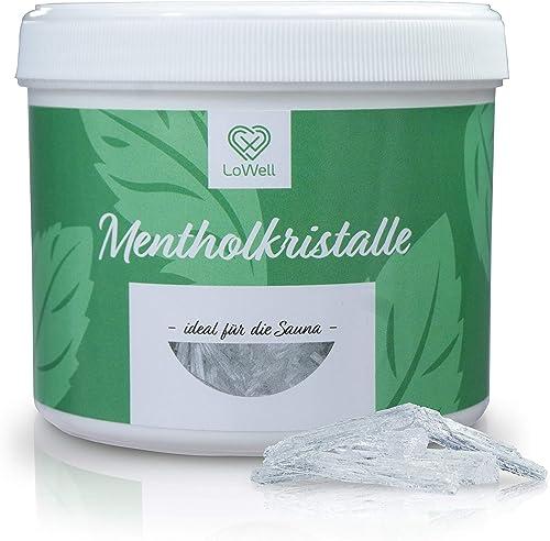 LoWell® 200g de cristaux de menthol 100% menthe pure-Parfaits pour la diffusion en sauna, contenant refermable - ...