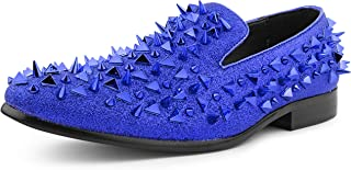 x Amali Mesa - Men's Designer Shoes, Comfortable Men's Slippers - Fashion Shoes - Shiny and Metallic Smoking Slippers with Matching Spikes