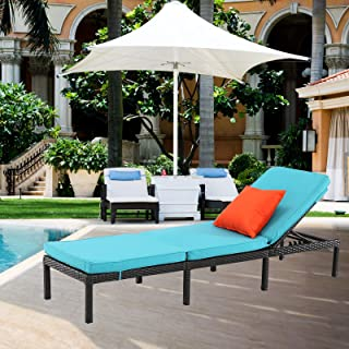 HTTH Chaise Lounge Chair Outdoor Rattan Sunbathing Daybed Adjustable All Weather Pool Chair with Cushion,Blue