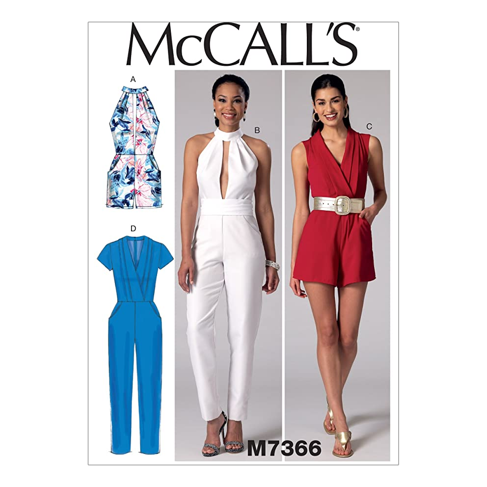 McCall's Patterns M7366 Misses' Pleated Surplice or Plunging-Neckline Rompers, Jumpsuits and Belt, Size A5 (6-8-10-12-14)