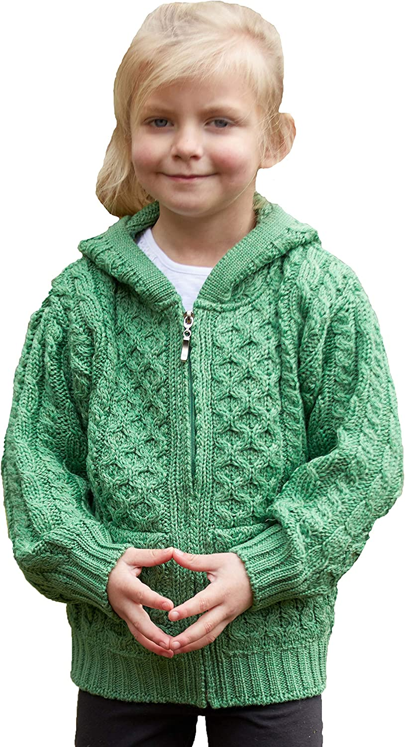 Aran Crafts Kid's Irish Max 72% OFF Cable 100% Knitted Zip Cardigan Hooded In a popularity