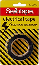 Sellotape High Track Strength Electrical Tape, Black, 19mm x 9m - 8 Rolls