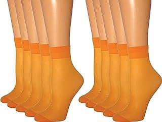 Womens orange Skull crossbones SHEER Fashion CREW Socks size 9-11 Orange Trim