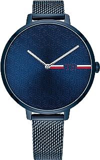 ساعة يد للنساء من تومي هيلفجر بمينا ازرق داكن وسوار من الستانلس ستيل مطلي بلون ازرق ايوني - 1782159