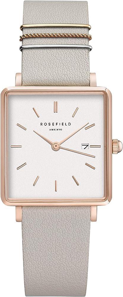 Rosefield,  orologio analogico da donna, in ottone, acciaio, e cinturino in vera pelle QCGRG-Q028