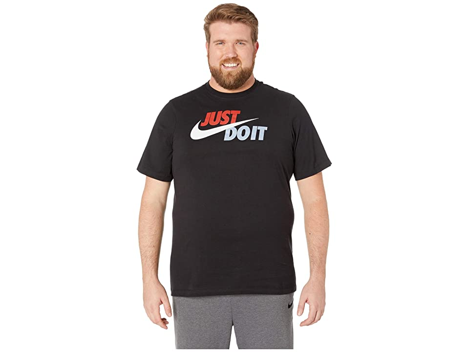 Nike Big Tall NSW Just Do It Swoosh Tee (Black/Mystic Red/Platinum Tint) Men