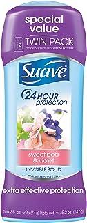 Suave Antiperspirant Deodorant, Sweet Pea 2.6 oz, Twin Pack