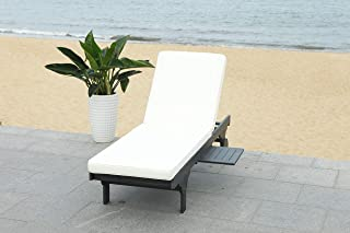 Safavieh PAT7022G Outdoor Collection Newport Cart-Wheel Black and White Chaise Side Table Lounge Chair