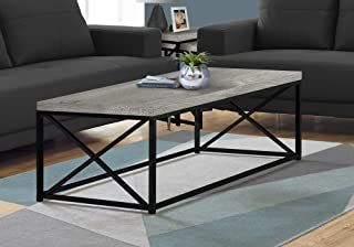 "Monarch Specialties Coffee Table - Modern Cocktail Table with Metal Base, 44"" L (Grey/Black)"