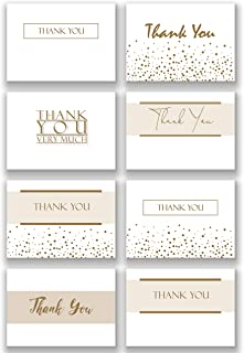 Pack of 48 Folding Gold Ink Thank You Note Cards & Envelopes | Heavy White Paper | Subtle, Shimmering, Metallic Gold Effect in 8 Unique Designs for Weddings, Showers, Graduations, Business, Funerals