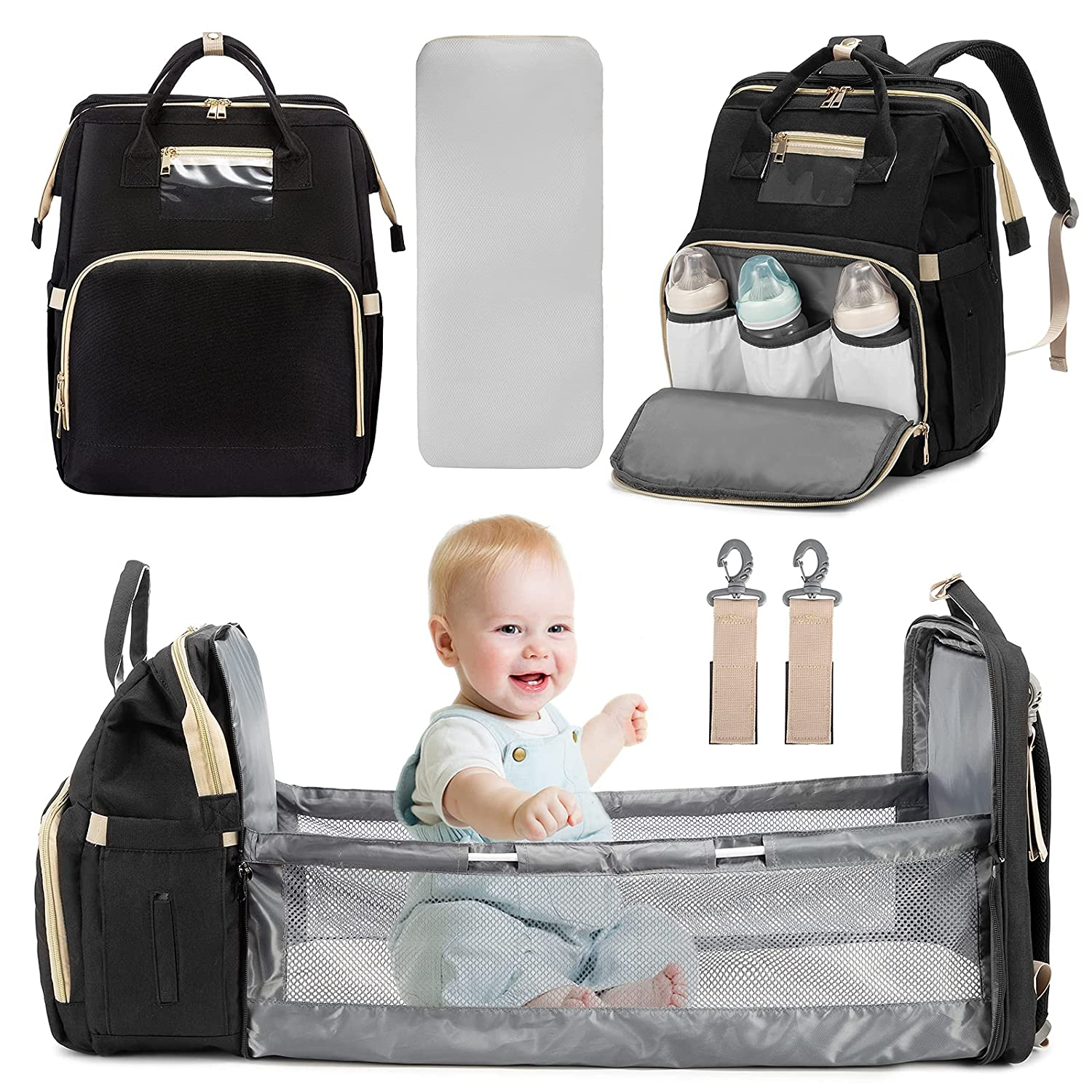 REALER 3 in 1 Diaper Bag Backpack, Diaper Bag with Changing Station, Mommy Bag Baby Bag Registry for Baby Shower Gifts, Baby Diaper Bag for Boys Girls with Insulated Material Black