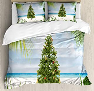 Ambesonne Christmas Duvet Cover Set, Tree with Tinsel and Ornaments Tropical Island Sandy Beach Party Theme, Decorative 3 Piece Bedding Set with 2 Pillow Shams, King Size, Cream Green