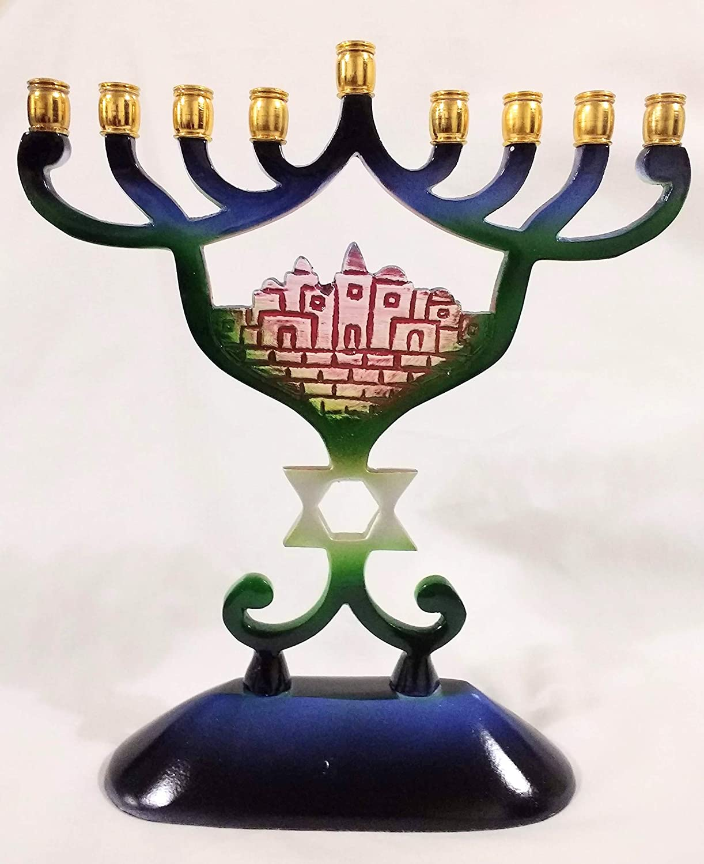 Quality Judaica Modern Hanukkah Menorah with Jerusalem Mu Motif Sale Special Price Soldering