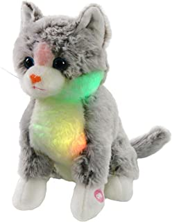 Bstaofy LED Kitty Stuffed Animal Cat Plush Toy Floppy Soft Adorable Gift for Kids Toddlers on Christmas Birhtday Halloween Festivals, 11'' (Gray)