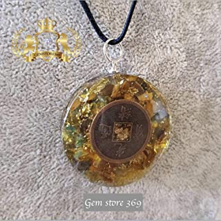 Money Attraction Orgone Pendant | Chinese ancient coin Orgonite| exquisite Green Jade, Tiger's Eye and Citrine Natural stones| EMF Protection | Reiki Infused