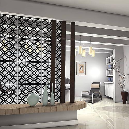 Kernorv DIY Separador de habitación Hecho de PVC ecológico, 12 Piezas Simple y Moderno Panel para Colgar para Decorar Cama, Comedor, Estudio y salón, Hotel, Bar y Escuela.