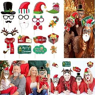 Amosfun Christmas Photo Prop Christmas Photo Booth Prop Christmas Decoration New-Year Decorations Christmas Birthday Gift 21PCS