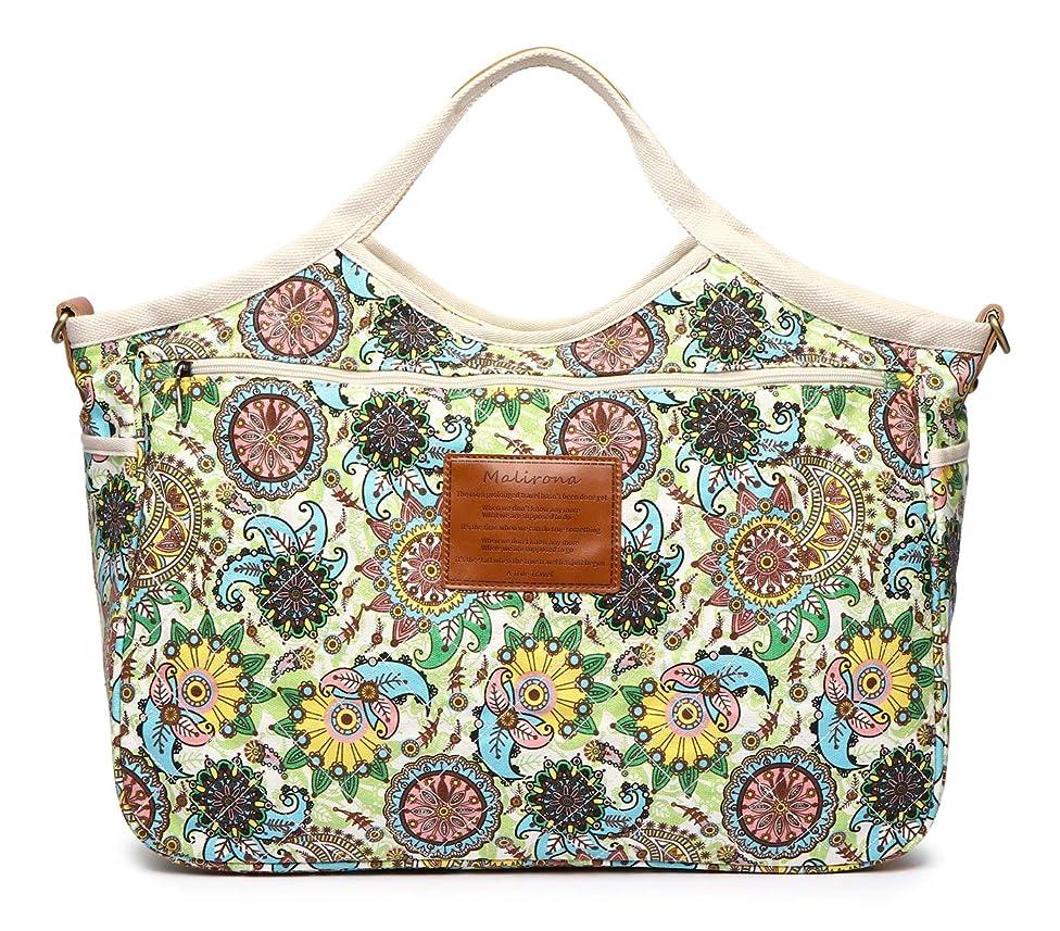Malirona Women's Ladies Casual Vintage Hobo Canvas Daily Purse Top Handle Shoulder Tote Shopper Handbag (Green Flower)