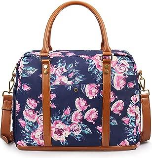 EssFeeni Women Printed Duffel Tote Bag Waterproof Carry on Luggage Bag Travel Top Handle Handbag Blue Flower