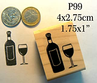 P99 Wine bottle with wine glass rubber stamp
