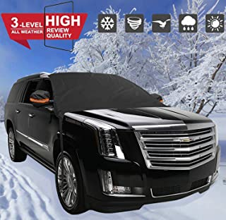 【2019 Upgraded】 Car Windshield Snow Cover, Double-Sided Protection Ice, Frost, UV Full Defense Season Protection Elastic Hooks Design Not Scratch Paint Large Size Fit for Most Vehicle 96