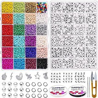 YUGDRUZY Bracelet Beads Kit, 6000pcs 4mm 6/0 Small Glass Seed Beads with 720pcs A-Z Alphabet Letter Beads Jump Rings Elast...