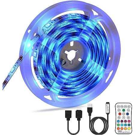 OMERIL LEDテープライト 2.2M長さ USB給電 リモコン操作 16色 4モード IP67防水 SMD5050 粘着テープ仕様 2.2メートル(2x0.5M、2x0.6M)