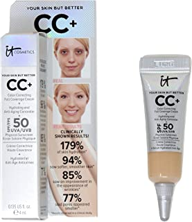 it Cosmetics Your Skin But Better CC+ in Light Hydrating and Color Correcting Cream with SPF 50 (Travel Size 4ml)