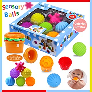 Sensory Balls for Kids - Textured Multi Ball Set for Babies & Toddlers, 6 Colorful Soft and Squeezy Sensory Toys with Stac...