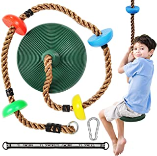ravs Climbing Rope Tree Swing with Disc Swing Seat for Kids and Platforms - Playground Swing Set Accessories Backyard Outdoor Toys Including Carabiner and Hanging Strap