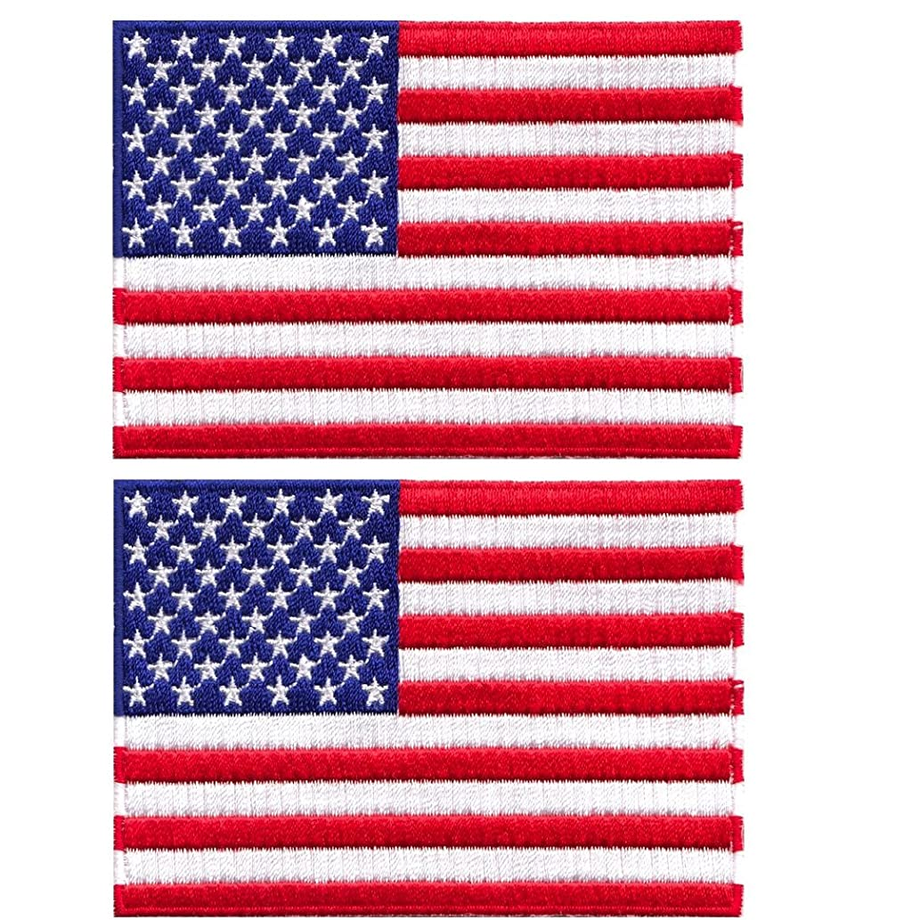 Patch, USA Flag, Embroidered, 2 Pack, 3 COLORS, ( 2.5