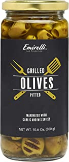Emirelli Grilled and Pitted Green Olives, 10.6 Ounce (300 gr), Wood Fire, Marinated with Garlic and Mix Spi...