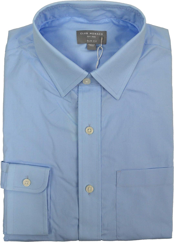 Club Monaco Men's Slim Fit Casual Button Down Dress Shirt Light Blue