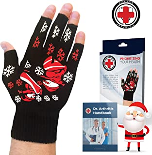 Doctor Developed Festive/Christmas Themed Compression Arthritis Gloves - Doctor Written Handbook Included: Relieve Arthritis Symptoms, Raynauds Disease & Carpal Tunnel (Small)