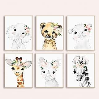 Adoren Studio Nursery Wall Art for Baby Girl - Baby Safari Animal Floral Art Prints - Blush Nursery Decor - Baby Girl Wall Decor