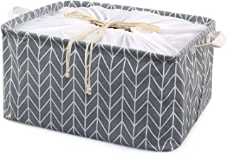 LEADSTAR Boîtes de Rangement en Tissu Panier de Rangement en Toile avec poignées et Fermeture à Cordon,Pliable Organiser P...