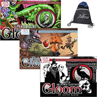 Gloom Card Game Core Collection: Gloom Second Edition, Fairytale Gloom, and Cthulhu Gloom, with Drawstring Bag
