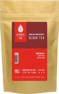 Elevate Tea ENGLISH BREAKFAST BLACK TEA, Loose Leaf Tea Blend, 30 servings, 3 Ounce Pouch, Caffeine Level: High, Single Un...