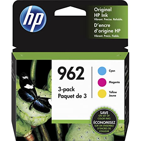 Original HP 962 Cyan, Magenta, Yellow Ink Cartridges (3-pack)   Works with HP OfficeJet 9010 Series, HP OfficeJet Pro 9010, 9020 Series   Eligible for Instant Ink   3YP00AN