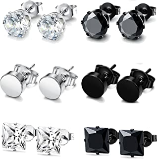 4-6 Pairs Stainless Steel Stud Earrings for Men Women CZ...